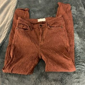 Free People Brown Lace High Waisted Skinny Pant